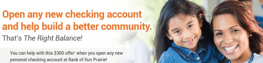 Bank of Sun Prairie $300 Checking Bonus