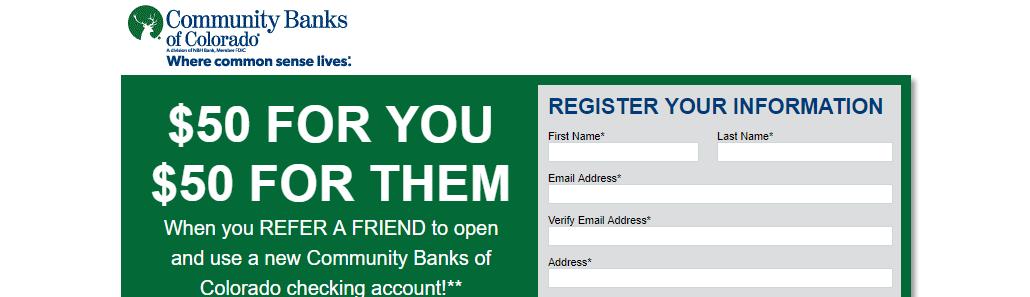 Community Banks Of Colorado $50 Bonus