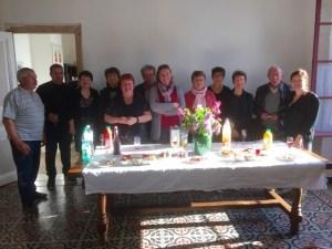 Mme CASTETS à droite lors de l'inauguration avec les commerçants et les élus.