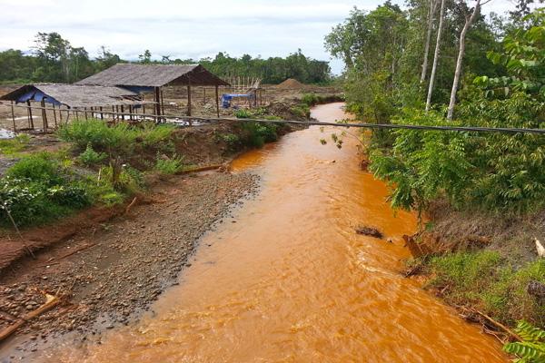 Sungai dari kawasan hutan yang ditambang mengalir ke laut dan berganti warna orange. Foto: Sapariah Saturi