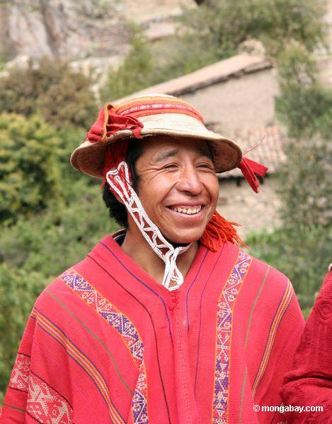 Smiling Willoq man in Ollantaytambo