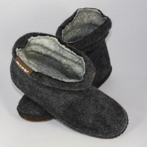 Warme Hausschuhe aus Filz mit Ledersohle und gestauchtem Schaft für Damen in der Farbe Schwarz - Lady Mongs Schwarz