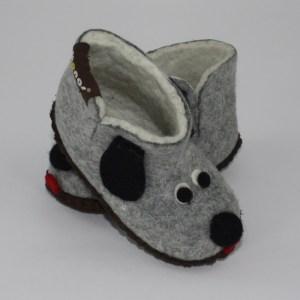 Warme Hausschuhe aus Filz mit Ledersohle für Babies und Kinder als Hundemotiv in der Farbe Grau - Baby Dogs Grau