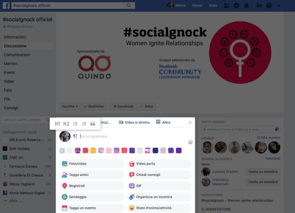 Facebook Ads nei Gruppi e formattazione dei testi
