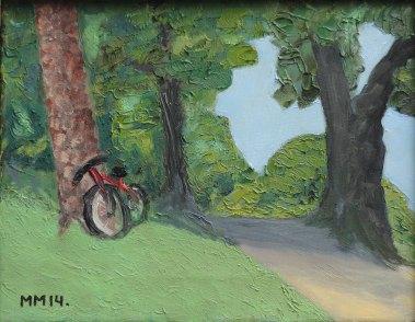 """""""Den röda cykeln"""" Olja, 27x35 cm"""