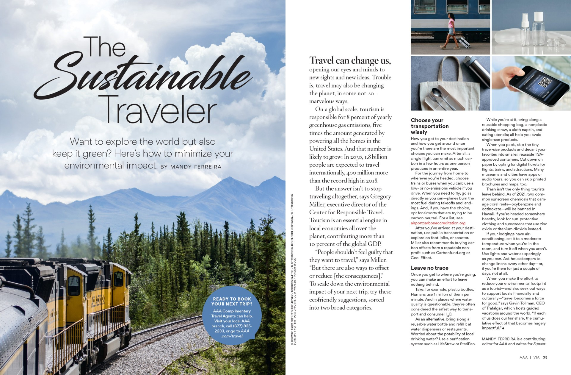 The Sustainable Traveler feature
