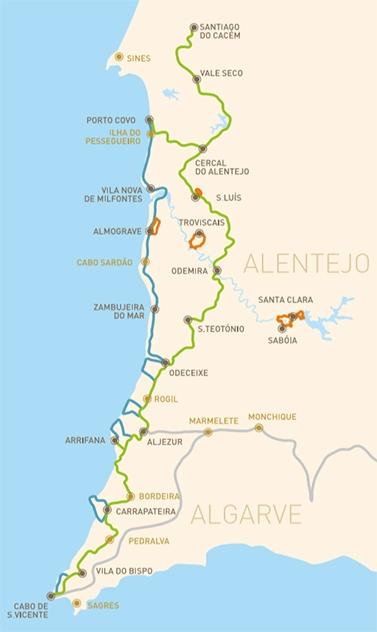 mapa costa vicentina portugal Mapa Rota Vicentina, Costa Vicentina, Portugal | MonicaOntheroad mapa costa vicentina portugal