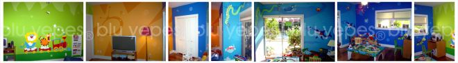 Aquarium Room Wall Design - Final Painting - Playroom Murals - Train Mural - Monica Yepes - NYC - Miami, FL