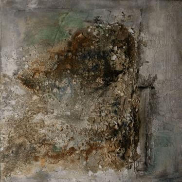 Arbeiten mit dem Verlust - Marmormehl, Sumpfkalk, Pigmente und Sande auf Leinwand - 100 x 100 cm