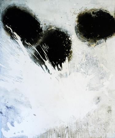 Blanc & Noir - Weiß - Acryl, Beizen und Pigmente auf Leinwand - 120 x 100 cm