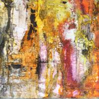 La Femme en Autumn - Sumpfkalk, Pigmente und Tuschen, Kunst-Kubus - 20 x 20 cm