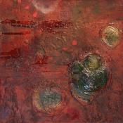 Das kleine Rot - Acryl und Pigmente auf Buchbinderpappe - 30 x 30 cm
