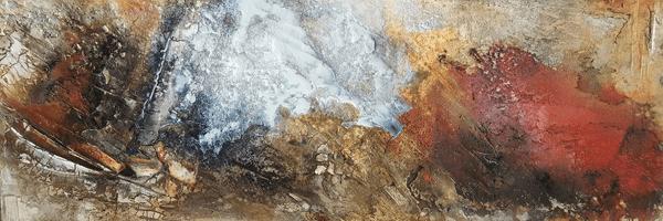 Erde - Marmormehl, Kaffee, Tuschen, Beizen und Knochenleim auf Leinwand - 150 x 50 cm