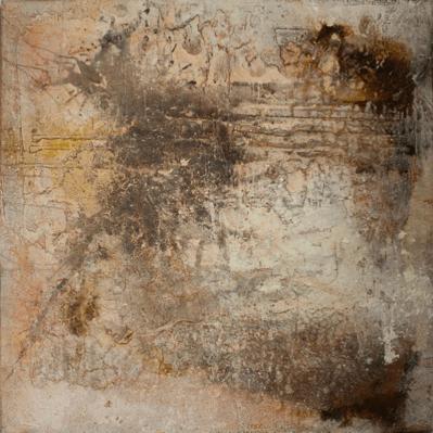 Explosion transparent - Marmormehl, Pigmente, Sande und Kalk-Kasein-Schüttungen auf Leinwand - 100 x 100 cm