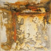 Farbklang V - Baumaterial, Marmormehl, Sande und Beizen auf Leinwand - 40 x 40 cm