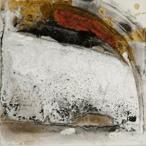 Farbklang X - Marmormehl, Pigmente und Scharlachrot auf Leinwand - 40 x 40 cm