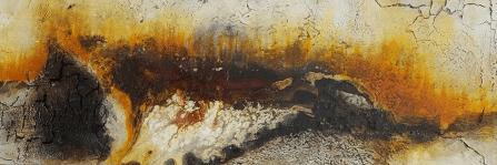Feuer - Knochenleim, Marmormehl, Pigmente und Silikatkreiden auf Leinwand - 150 x 50 cm