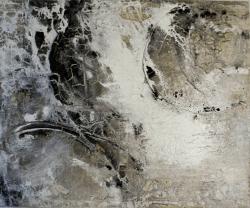 Gletscherwelten - Marmormehl, Sande, Sumpfkalk und Pigmente auf Leinwand - 120 x 100 cm