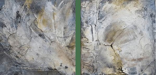 Häutungen - Knochenleim, Pigmente, Tuschen und Zen-Strich auf Leinwand - 40 x 40 cm
