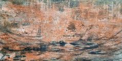 Im Fluss - Marmormehl, Beizen, Pigmente und Tuschen auf Leinwand - 60 x 120 cm