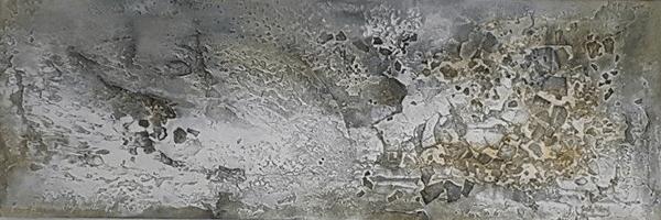 Indigo I - Marmormehl, Sumpfkalk und Tuschen auf Leinwand - 120 x 40 cm (verkauft)