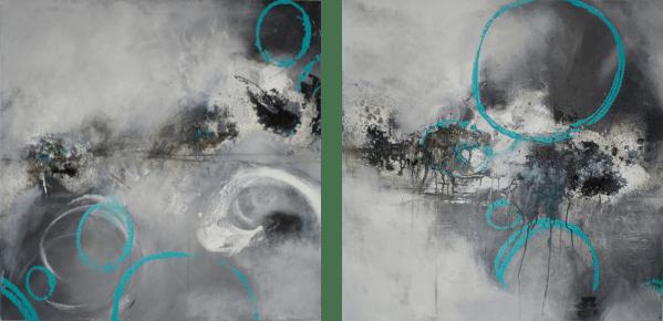 Lebenskreise (Diptychon) - Acryl auf Leinwand - 100 x 100 cm