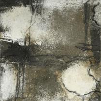 Pfade - Bitumen, Asche und Pigmente auf Buchbinderpappe - 30 x 30 cm
