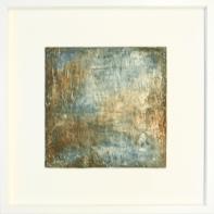 Phantasie in Blau I - Sumpfkalk und Pigmente, Fresko auf Holz - 30 x 30 cm