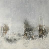 Schwarz-Weiß-Malerei I - Acryl, Collage und Wachs auf Leinwand - 80 x 80 cm
