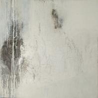 Schwarz-Weiß-Malerei III - Acryl, Collage und Wachs auf Leinwand - 80 x 80 cm