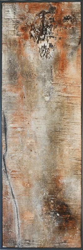 Transparenz Rouge II - Sumpfkalk, Marmormehl und Pigmente auf Holz, gerahmt - 120 x 40 cm