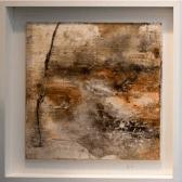 Traumwelten I - Sumpfkalk, Schellack, Schiefermehl, Wachs und Gold auf Holz - 40 x 40 cm