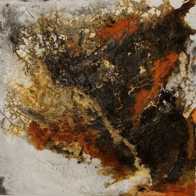 Zeitreise - Marmormehl, Sande, Beizen und Pigmente auf Leinwand - 40 x 40 cm