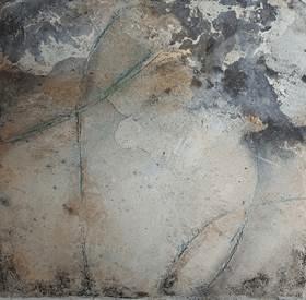 Das Orakel I - Seidelbastpapier, Baumaterial, Sumpfkalk, Pigmente, Tuschen – 30 x 30 cm – Kunstfabrik Hannover 2017
