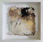 Kleine Kostbarkeiten II - Seidelbastpapier, Baumaterial, Sumpfkalk, Pigmente, Tuschen – 20 x 20 cm – Kunstfabrik Hannover 2017