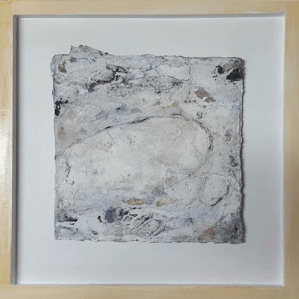 Zarte Versuchung I - Seidelbastpapier, Baumaterial, Sumpfkalk, Pigmente, Tuschen – 30 x 30 cm – Kunstfabrik Hannover 2017