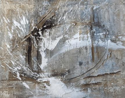 DIE GESTE II - 2018, Sumpfkalk, Haftputzgips, Pigmente, Tuschen auf Leinwand, 100 x 78 cm