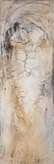 ENTFALTUNG - 2018, Sumpfkalk, Marmormehl, Pigmente auf Leinwand, 150 x 50