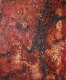 FLUCHT AUS ALEPPO - 2018, Marmormehl, Pigmente, Tuschen, Wachs auf Leinwand, 120 x 100 cm
