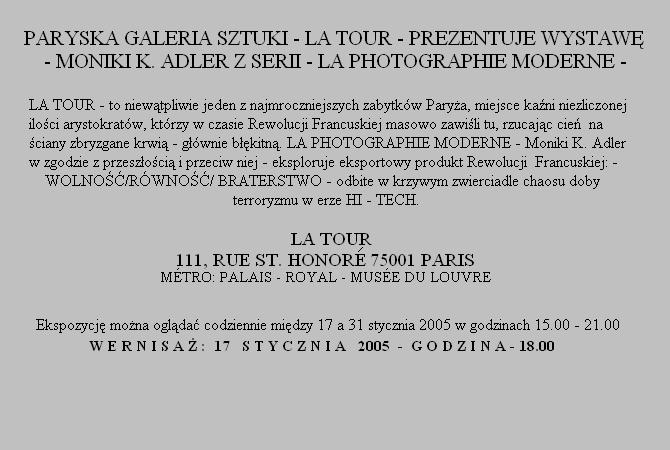 Monika K. Adler - Solo Show - La Tour Galerie, Paris