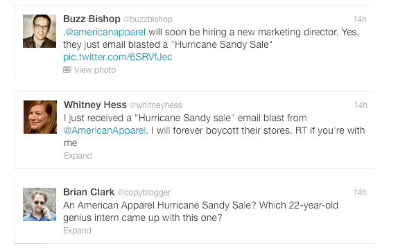 Twitter reactions to American Apparel Hurricane Sandy promotion