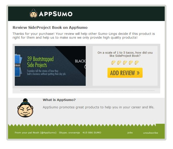 App Sumo Review Email