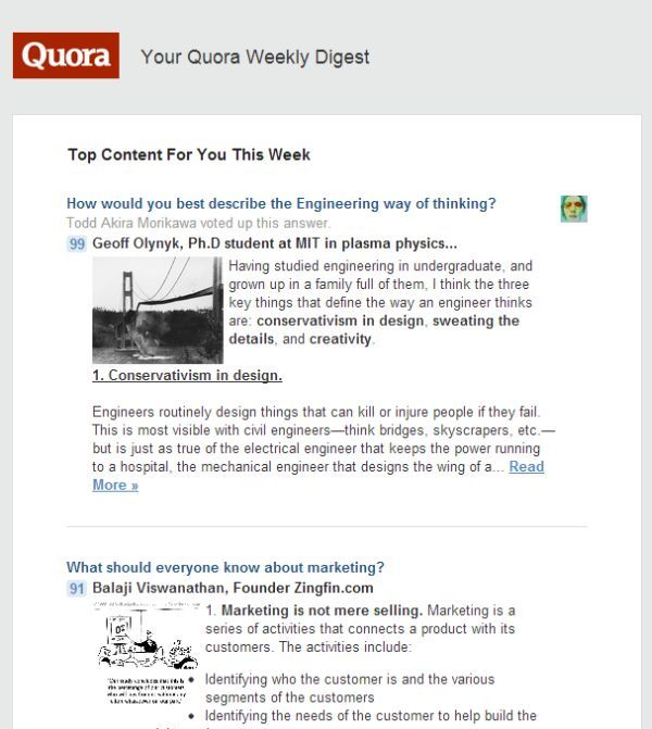 Click to see the full page Quora Weekly Digest email - Monique Woodard