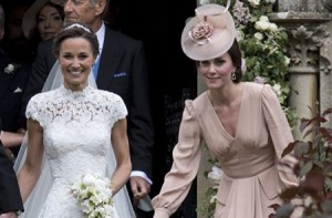 ENGLEFIELD GREEN, ENGLAND - MAY 20:  Pippa Middleton and Catherine, Duchess of Cambridge attend the wedding of Pippa Middleton and James Matthews at St Mark's Church on May 20, 2017 in Englefield Green, England.  (Photo by UK Press Pool/UK Press via Getty Images)