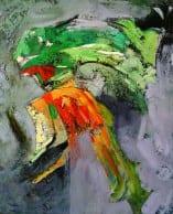 """""""Narrative"""". Acrylic on Canvas – 90 X 110 cm, 2006. [Rafat Asad]"""