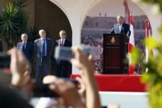 BEIRUT, LÍBANO: El presidente del Líbano, Michel Aoun, pronuncia un discurso en el marco de la celebración de una fiesta en el Palacio Baabda, en Beirut, Líbano, el 6 de noviembre de 2016. [Ratib Al Safadi / Agencia Anadolu]