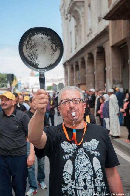Trabajadores participan en una manifestación para conmemorar el Día Internacional de los Trabajadores en Rabat, Marruecos el 1 de Mayo de 2017 [Jalal Morchidi / Agencia Anadolu]