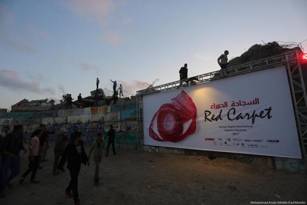 Ceremonia de inauguración del tercer festival de cine de derechos humanos en Gaza el 12 de Mayo de 2017. [Imagen: Mohammad Asad / Middle East Monitor]