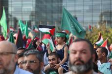 Palestinos y libaneses se manfiestan en contra de las medidas de Israel en la Mezquita de al Aqsa frente a la sede de la Comisión Económica y Social de las Naciones Unidas para Asia Occidental (UNESCWA) en Beirut, Líbano, el 18 de julio de 2017 [ Ratib Al Safadi / Agencia Anadolu]