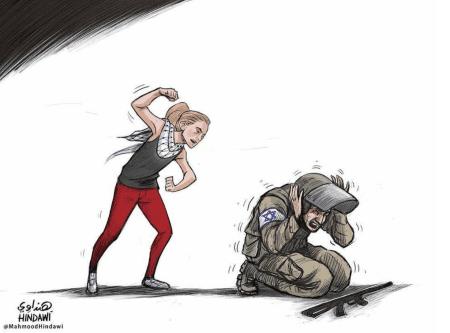 Ahed Tamimi, la niña palestina que fue arrestada por abofetear y humillar a soldados israelíes - Cartoon [Mahmoud Hendawi]